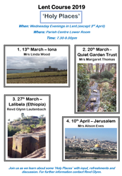 Lent Course - 'Holy Places' – Quiet Garden Trust @ Parish Centre Lower room